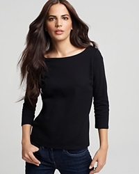 Eileen Fisher Petites' Boatneck Tee Black
