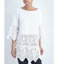 Place Nationale Tiered Vintage Cotton Kaftan White