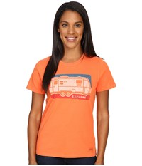 Life Is Good Explore Airstream Crusher Tee Coral Orange Women's T Shirt