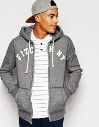 Abercrombie And Fitch Hooded Sweatshirt With Applique Grey