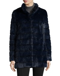 Laundry By Shelli Segal Faux Fur Stand Collar Chubby Jacket Navy
