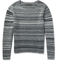 The Elder Statesman Striped Marled Cashmere Sweater Gray