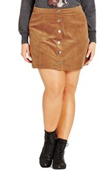 City Chic Plus Size Women's 'Miss Mod' Button Front Miniskirt