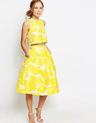 Chi Chi London Jacquard Full Midi Skirt Co Ord Yellow White