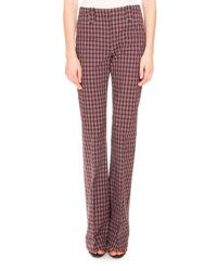 Altuzarra Serge Plaid Flare Leg Pants Black Natural Scarlet
