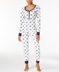 Tommy Hilfiger Thermal Henley Top And Pants Pajama Set Ivory Snowflakes