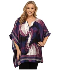 Mynt 1792 Plus Size Border Printed Blouse Circular Ombre Women's Blouse Blue
