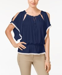 Eci Solid Cold Shoulder Peasant Blouse Navy White
