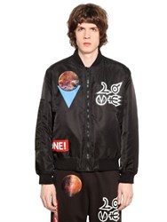 Love Moschino Space Patched Nylon Bomber Jacket