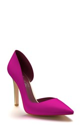 Shoes Of Prey Women's Pointy Toe Half D'orsay Pump Magenta Gold