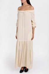 Raquel Allegra Gauze Maxi Dress Ivory