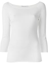 Alberta Ferretti Boat Neck Knitted Top White