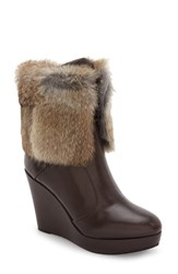 Rudsak Women's Baime Genuine Rabbit Fur Trim Bootie Brown Leather Rabbit Fur Trim
