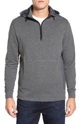 Men's Bugatchi Hooded Quarter Zip Sweater Charcoal