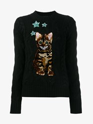 Dolce And Gabbana Cashmere Cat Jumper Black Multi Coloured Mint Green