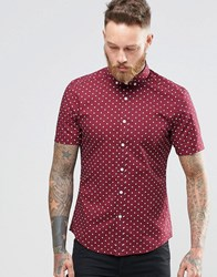 Asos Skinny Shirt With Polka Dot In Burgundy With Short Sleeves Burgundy Red