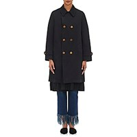 Commedesgarcons Commedesgarcons Women's Pleated Hem Double Breasted Trench Coat Blue