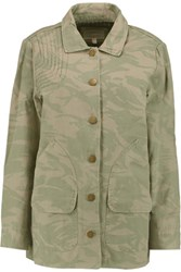 Current Elliott The Foxhunt Camouflage Print Cotton Canvas Jacket Army Green