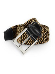 Saks Fifth Avenue Two Tone Woven Belt Black Camel