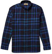 Burberry Button Down Collar Checked Cotton Flannel Shirt Navy