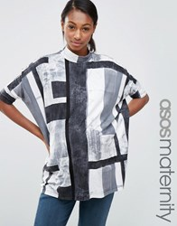 Asos Maternity Slouchy Top With High Neck In Block Print Grey White Multi