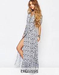 Reclaimed Vintage Wrap Maxi Dress In Floral Print Cream