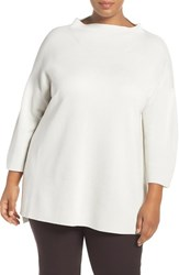 Eileen Fisher Plus Size Women's Funnel Neck Silk And Organic Cotton Knit Bone
