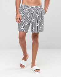 Asos Swim Shorts With Anchor Stripe In Mid Length Blue
