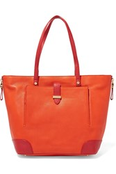 Tory Burch Clay Two Tone Textured Leather Tote Orange