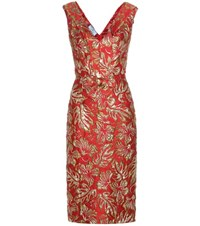 Prada Metallic Cloque Jacquard Dress Red