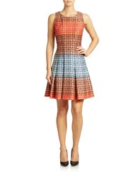 Gabby Skye Geo Print Colorblock Fit And Flare Dress Burnt Orange Multi
