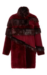 Jo No Fui Intarsia Wool And Beaver Fur Overcoat Red