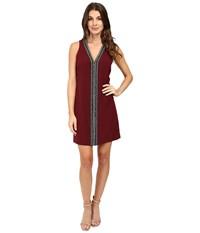 Laundry By Shelli Segal Sleeveless Beaded V Neck Dress Deep Garnet Women's Dress Burgundy