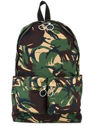 Off White Camouflage Zip Up Backpack Brown