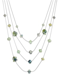 C.A.K.E. By Ali Khan Silver Tone Green Bead Four Row Illusion Necklace