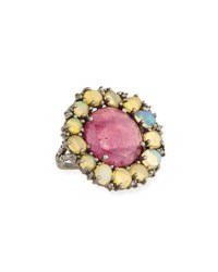 Bavna Composite Ruby Opal And Diamond Cocktail Ring