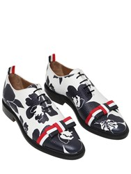 Thom Browne 20Mm Floral Printed Leather Shoes W Bow