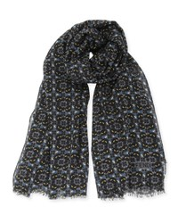 Fendi Mini Monster Print Scarf Gray Blue