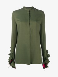 Haider Ackermann Silk Blend Ruffle Sleeve Blouse Khaki Pink Metallic Gold Black