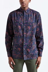 Globe Rose Button Down Shirt Black