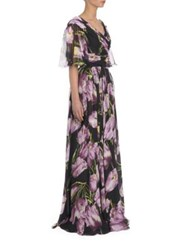 Dolce And Gabbana Flounce Sleeve Floral Silk Chiffon Gown Black Print