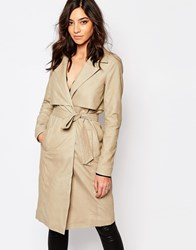 Y.A.S Willow Leather Trench Coat String