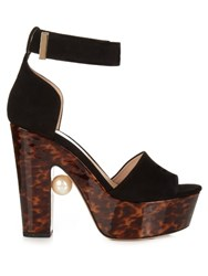 Nicholas Kirkwood Maya Pearl Embellished Block Heeled Sandals Black Brown