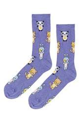 Women's Topshop Glitter Animal Socks Purple Purple Multi