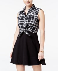 Emerald Sundae Juniors' Plaid Tie Front Shirtdress Black White