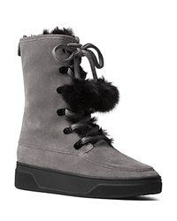 Michael Michael Kors Juno Suede And Faux Fur Pom Pom Lace Up Booties Storm