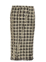 Rochas Tweed Check Pencil Skirt White Black