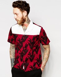Wood Wood Shirt With Revere Collar And Plantlife Print Plan Red