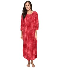 Carole Hochman Flannel Long Sleeve Long Gown Falling Pinecones Women's Pajama Red