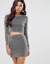 Motel Long Sleeve Crop Top In Silver Tinsel Silver